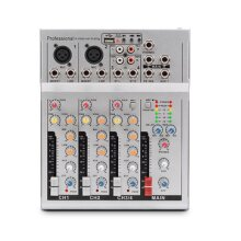 4 Channels Audio Mixer USB DSP Reverberation bluetooth DJ Sound Mixing Console MP3 Jack Karaoke Amplifier for KTV Match Party WHITE