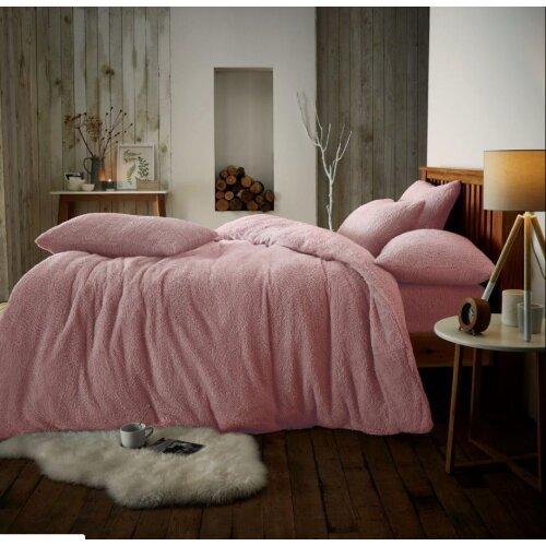 (Double, Pink) Teddy fleece luxury duvet cover bed set