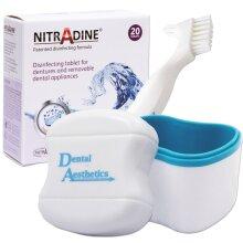 Nitradine, Bath & Denture Brush ~ 20 Cleaning Tablets Dental Appliance Storage