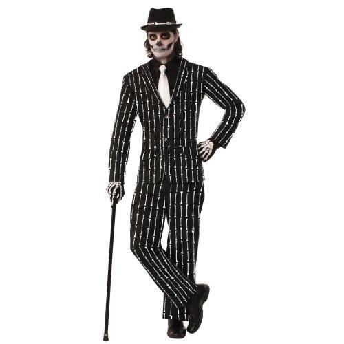 Skeleton Bone Pin Stripe Suit Costume | Halloween