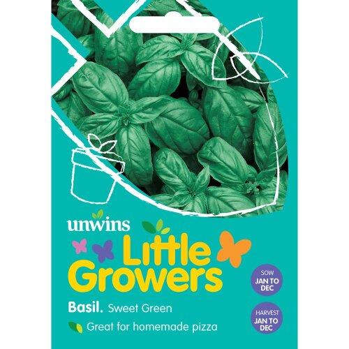Unwins Grow Your Own Little Growers Sweet Green Basil Vegetable Seeds