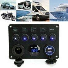 12V/24V Inline Fuse Box LED Switch Panel Dual USB Car Boat Camper