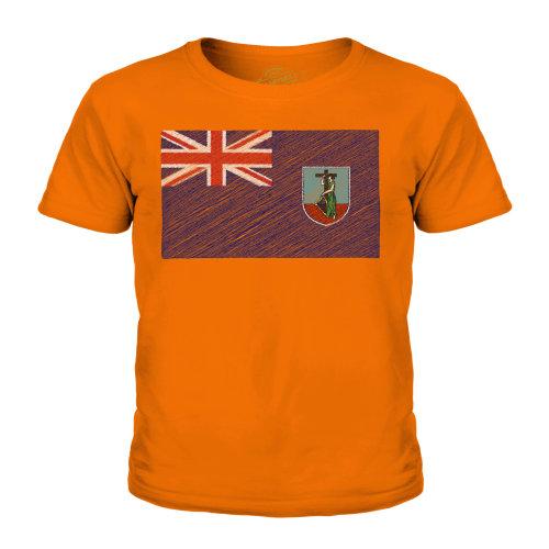 (Orange, 3-4 Years) Candymix - Montserrat Scribble Flag - Unisex Kid's T-Shirt