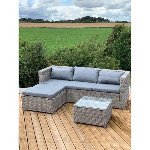 (Victoria Lounge Set - GREY) Victoria Rattan Garden Furniture Lounge Set