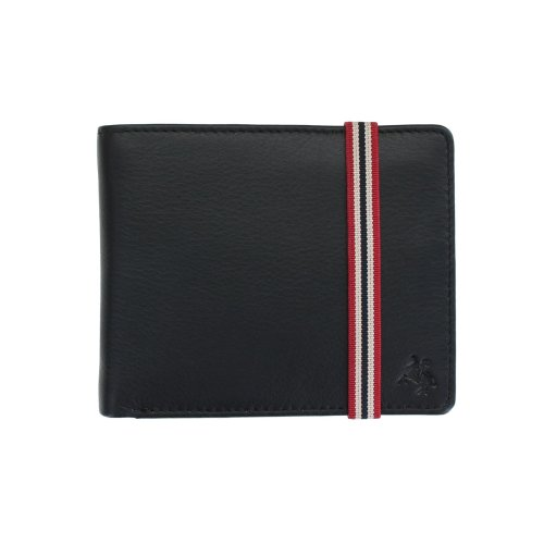 Visconti Bond Collection Men's RFID Black Leather Wallet With Elastic Closure