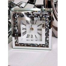15X15cm Small Square Table Clock Crushed Diamante