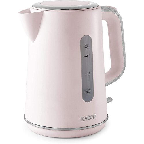 Tower T10037PNK Scandi 1.7L 3kW Rapid Boil Kettle, Pink with Wood Accents