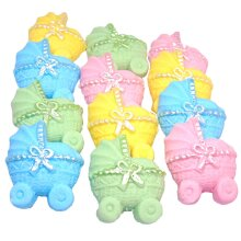 12 Coloured Baby Prams Baby Shower Cupcake Cake Decorations