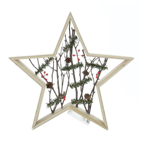 Wooden Star With Birch Berry Warm White LED Light Up Christmas Xmas Indoor Room Home Decoration
