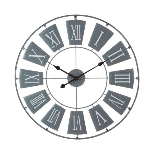 Striking Design Metal Wall Clock Roman Numerals, Grey - 90 x 4 cm