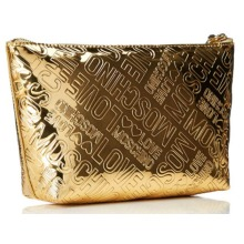 Love Moschino Gold Patent Bustina Clutch Wristlet bag Pouch