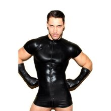 Wet Look Latex Catsuit Faux Leather Mesh Jumpsuits