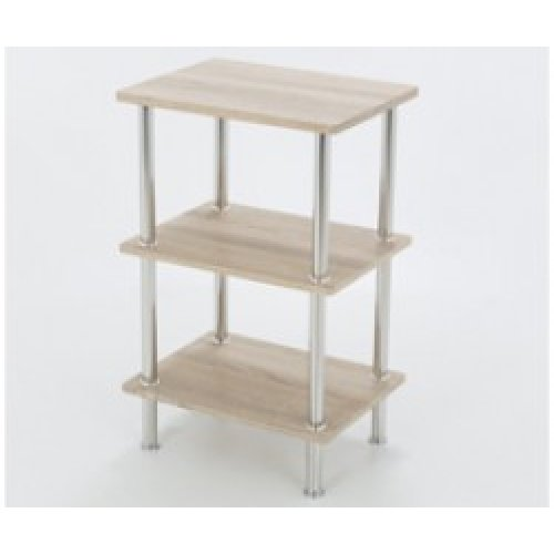 King Whitewashed Oak Effect 3 Tier Modern Organisation Rack, Shelving Shelf Unit