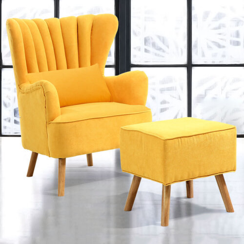 Yellow Occasion Wingback Armchair and Footstool