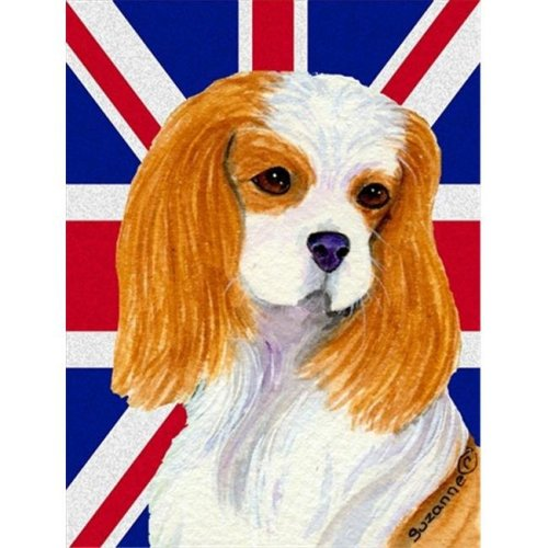 Cavalier Spaniel With English Union Jack British Flag Flag Garden Size
