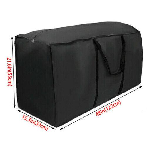 (Black, 122x39x55cm) Large Heavy Duty Waterproof Outdoor Garden Furniture Cushions Storage Bags Case