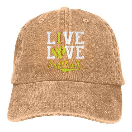 (Brown) LIve Love Softball Denim Baseball Caps