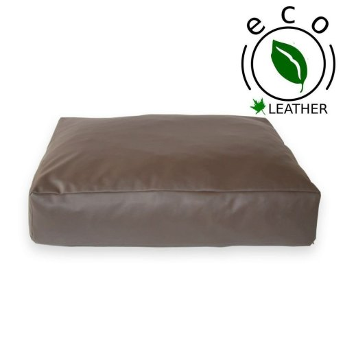 Faux Leather Brown Cushion Dog Bed