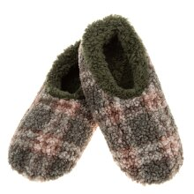 Snoozies! Green Patterned Boucle Mens Medium Size 8-9 Super Soft Non Slip