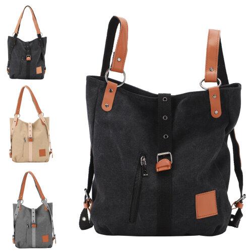 Ladies Canvas Shoulder Bag Backpack Multi-Handbag