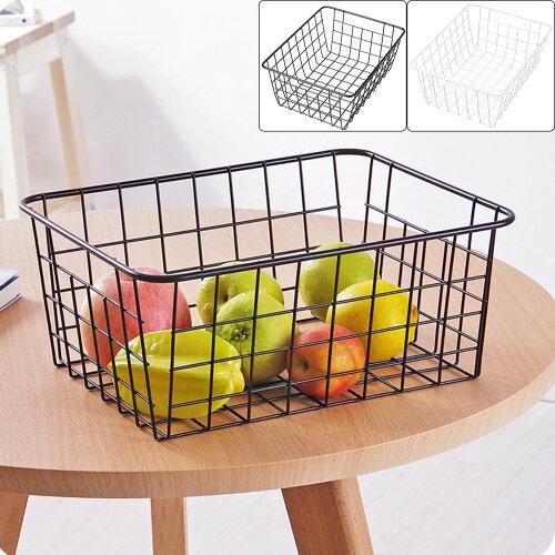 2x Storage Basket Metal Wire Tray Mesh Basketry Box