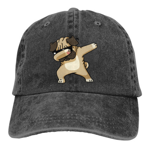 Dabbing Sunglasses Pug Denim Baseball Caps