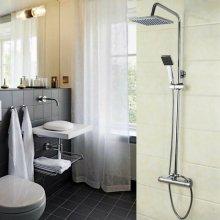 Bathroom Thermostatic Shower Mixer Set Square Chrome Twin Head Valve