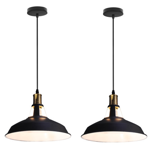 (2pack Black White) 2pack Pendant Light Metal Hanging Lampshade