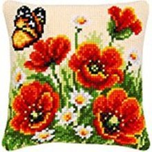 """Latch Hook Complete Cushion Cover Kit""""Poppies and Butterfly"""" 43x43cm"""