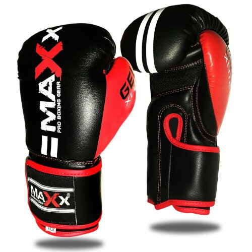 (Black Red, 6oz) Maxx 2lines Kids Junior Boxing Gloves Sparring Glove Competition Training and Fighting glove pad MMA UFC gym in door