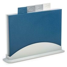 Simply Home 5 Piece Index Chopping Board Set Colour Coded Navy Grey White