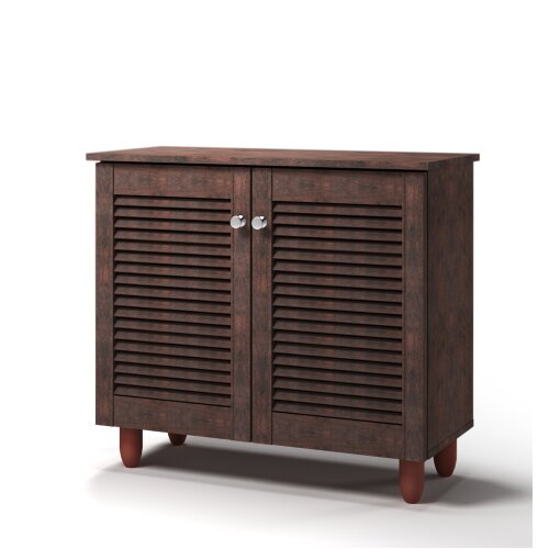 Modern Shoe Storage Cabinet 2 Doors Footwear Stand Rack Unit Cupboard Dark Wenge