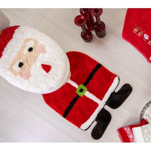 Allure Santa Toilet Seat Cover and Pedestal Mat Set Christmas