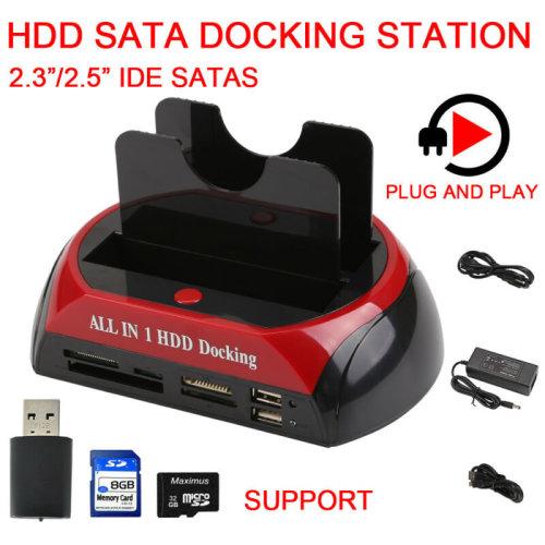 2.5″ 3.5″Dual Hard Drive HDD Docking Station USB Dock Card Reader
