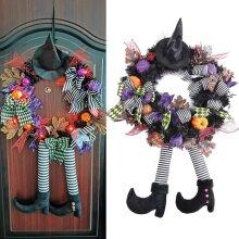 Halloween Wreath With Hat Legs Front Door Hanging Wreath Pumpkin Wreath