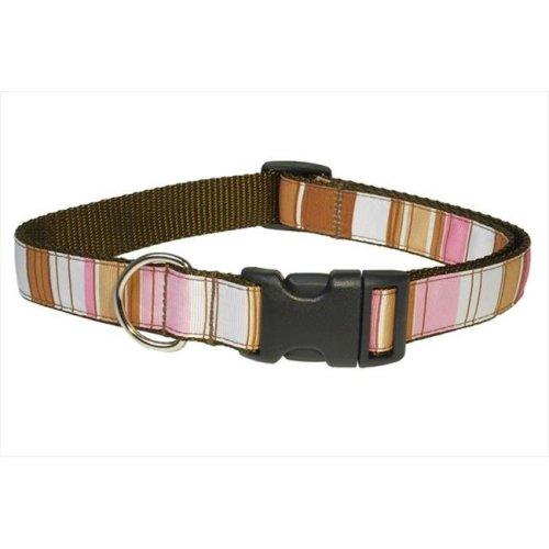 Sassy Dog Wear STRIPE-BROWN-MULTI3-C Stripe Dog Collar, Brown - Medium