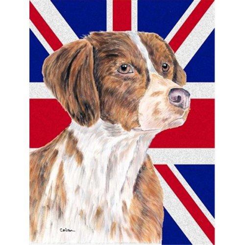 Brittany Spaniel with English Union Jack British Flag Flag Garden Size