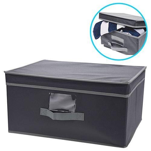 (4) Lidded Grey Fabric Drawer Storage Boxes