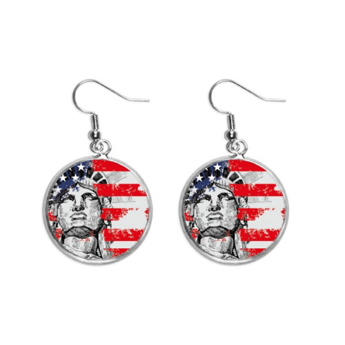 Statue Of Liberty America Flag Country City Ear Dangle Silver Drop Earring Jewelry Woman