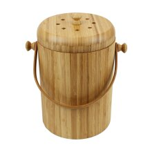 Round Wooden Bamboo Compost Caddy/Bin for Food Waste Recycling (3.5 Litre)