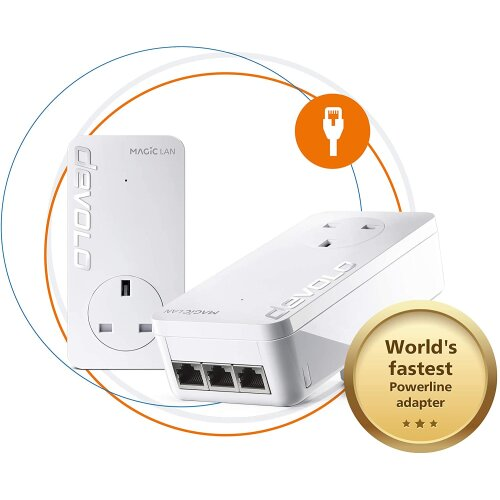 Devolo Magic 2-2400 LAN Triple Starter Kit: Stable home working, Powerline Kit, Up to 2400 Mbps for your Powerline Home Network, 3x Gb LAN Ports, Idea