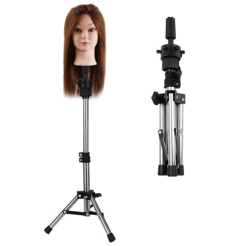 Hairdressing Training Mannequin Head Tripod Stand Wig Holder