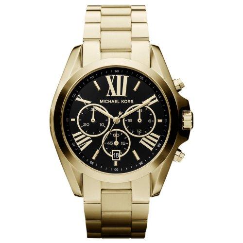 Michael Kors Ladies Chronograph Gold Bracelet Black Dial Watch MK5739