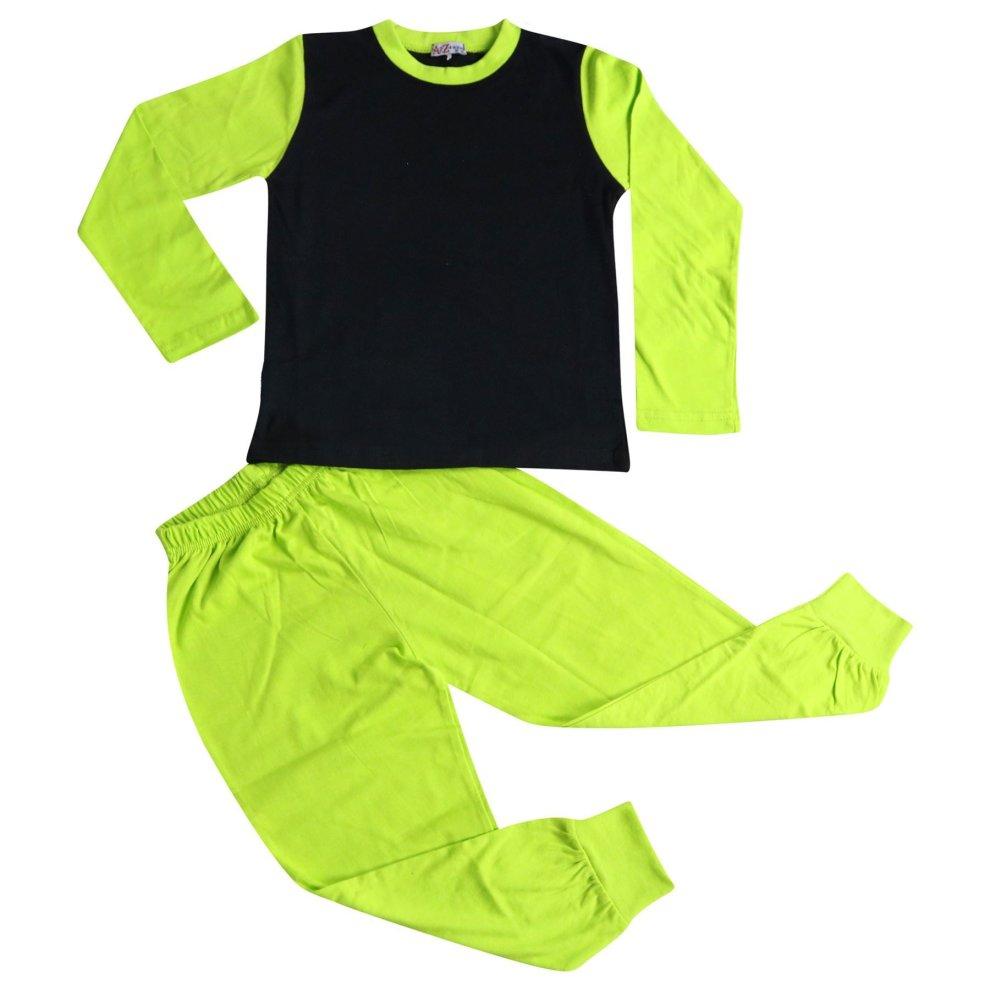 Kids Girls Boys Pjs Contrast Color Plain Stylish Pyjamas Set New Age 2-13 Years