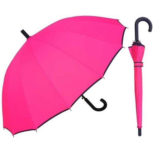 RainStoppers W023PINK 46 in. Auto Open Pink 16 Panel Umbrella with Black Piping, 6 Piece