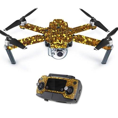 MightySkins DJMAVPRO-Gold Glitter Skin Decal Wrap for DJI Mavic Pro Quadcopter Drone Cover Sticker - Gold Glitter