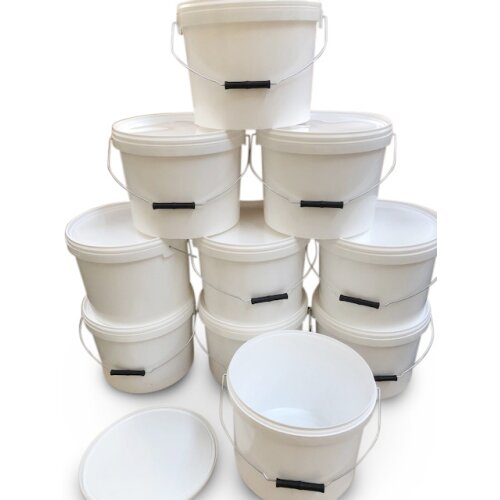10 x 10 litre buckets and lids metal handle food grade home garden bait