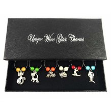 Cat Lovers Wine Glass Charms with Gift Box