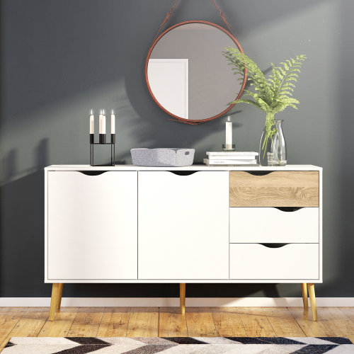Scandinavian Large Sideboard Nordic Retro Cupboard Storage Unit Cabinet Buffet
