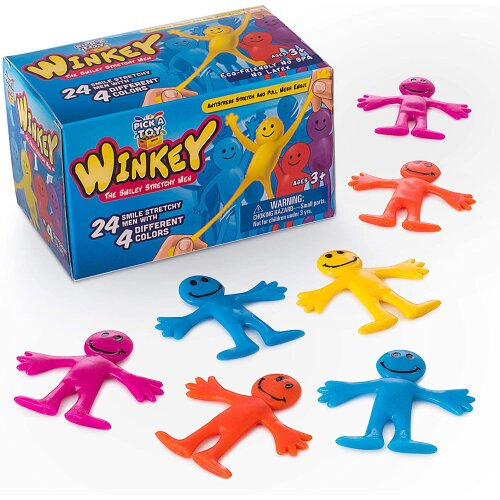 Pick A Toy Happy Stretchy Man (24 set) Sensory Gel Toy Kids Stress Relief Fidget Party Favor For Autism & ADHD